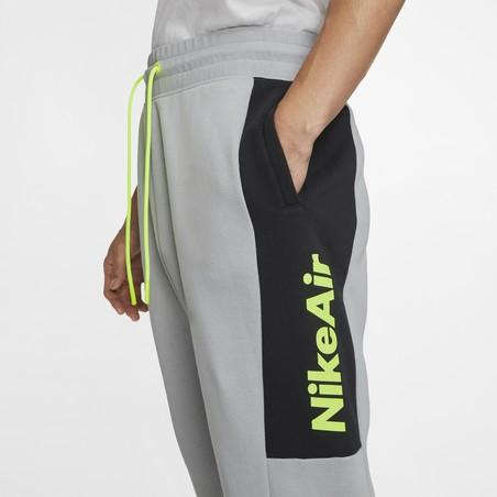Pantalon survêtement Nike Air Fleece gris jaune