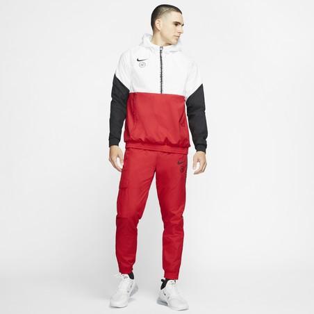 Sweat zippé à capuche Nike F.C. microfibre blanc rouge