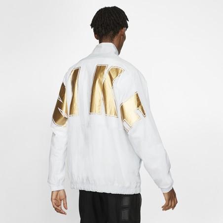 Veste survêtement Nike Air Woven blanc or
