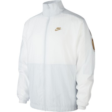 Veste survêtement Nike Air Woven blanc or