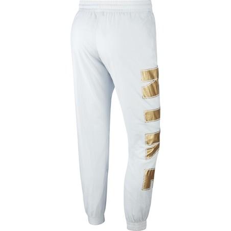 Pantalon survêtement Nike Air Woven blanc or