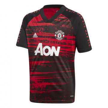 Maillot avant match junior Manchester United noir rouge 2020/21