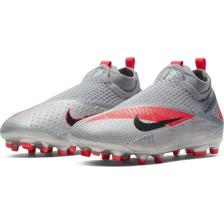 Nike Phantom Vision 2 junior Elite FG/MG gris rouge