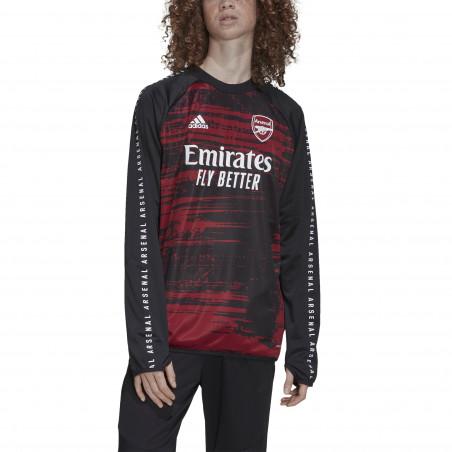 Sweat avant match Arsenal noir rouge 2020/21