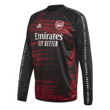Sweat avant match Arsenal noir rouge 2020/21
