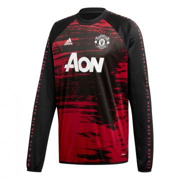 Sweat avant match Manchester United noir rouge 2020/21