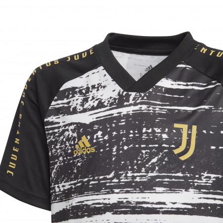 Maillot avant match junior Juventus noir blanc 2020/21