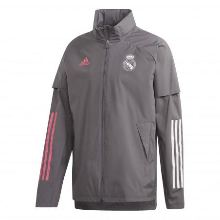 Veste imperméable Real Madrid gris rose 2020/21