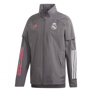 Veste imperméable Real Madrid gris rose 2020/21