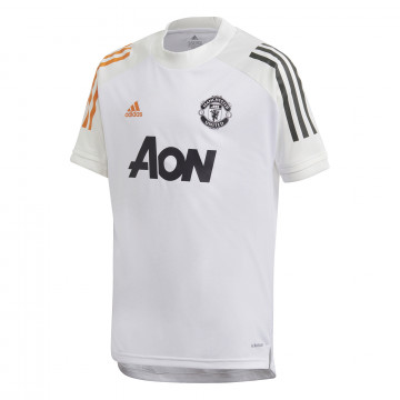 Maillot entraînement junior Manchester United blanc orange 2020/21