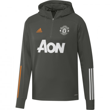 Sweat zippé capuche Manchester United vert orange 2020/21
