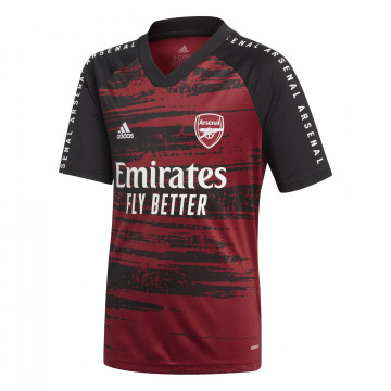 Maillot avant match junior Arsenal noir rouge 2020/21
