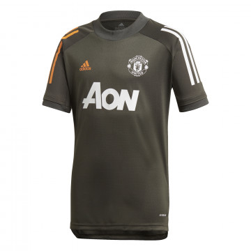 Maillot entraînement junior Manchester United vert orange 2020/21