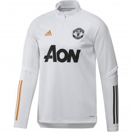 Sweat zippé Manchester United blanc orange 2020/21