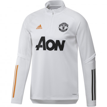 Sweat zippé Manchester United blanc orange 2020/21