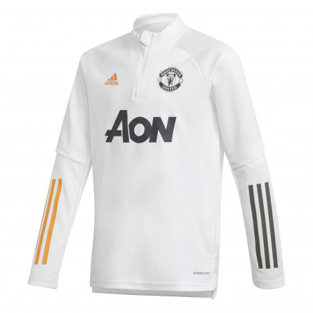 Sweat zippé junior Manchester United blanc orange 2020/21