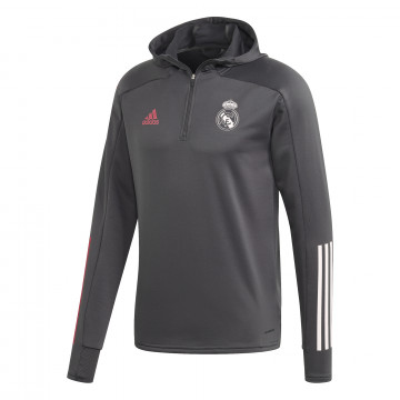 Sweat zippé à capuche Real Madrid gris rose 2020/21