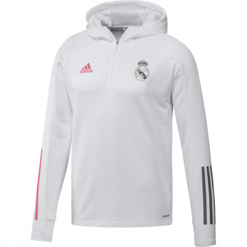 Sweat entraînement à capuche Real Madrid blanc rose 2020/21