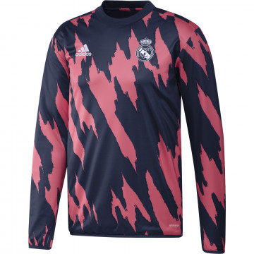 Sweat avant match Real Madrid rose bleu 2020/21