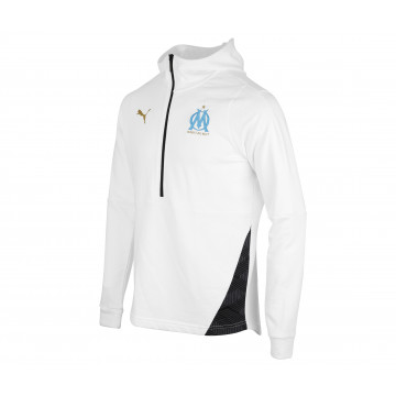 Sweat zippé junior OM molleton blanc 2020/21