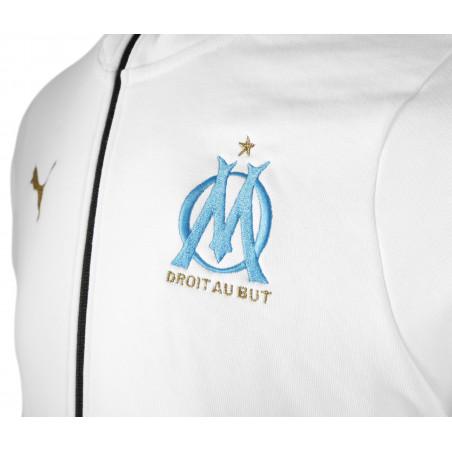Sweat zippé junior OM molleton blanc 2020/21