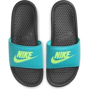 Sandales Nike Benassi bleu jaune