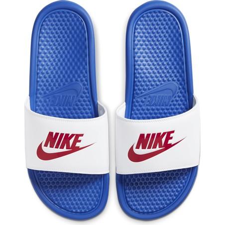 Sandales Nike Benassi bleu blanc