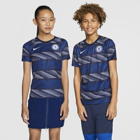 Maillot avant match junior Chelsea bleu blanc 2020/21
