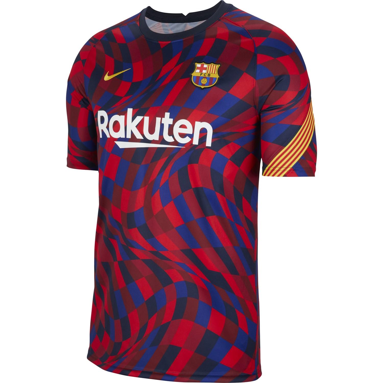 Maillot avant match FC Barcelone rouge bleu 202021