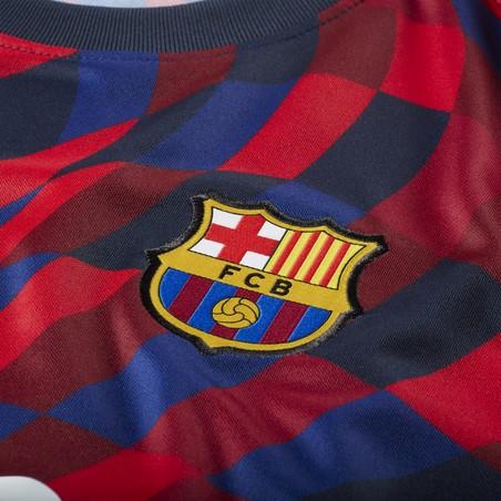 Maillot avant match FC Barcelone rouge bleu 2020/21