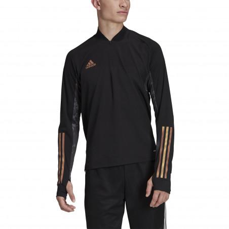 Sweat zippé adidas noir or