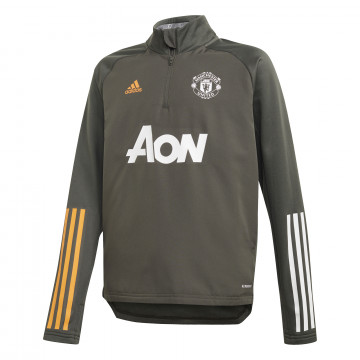 Sweat col montant junior Manchester United vert 2020/21