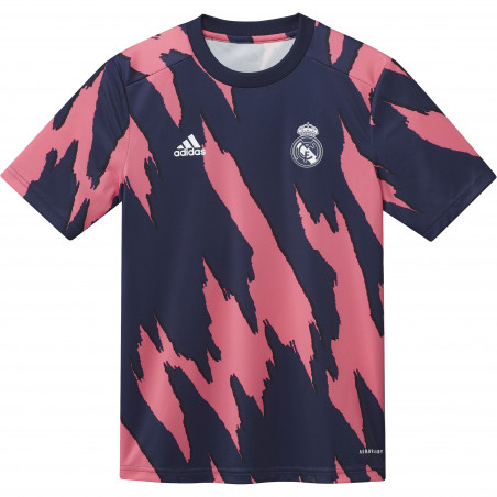 Maillot avant match junior Real Madrid rose bleu 2020/21