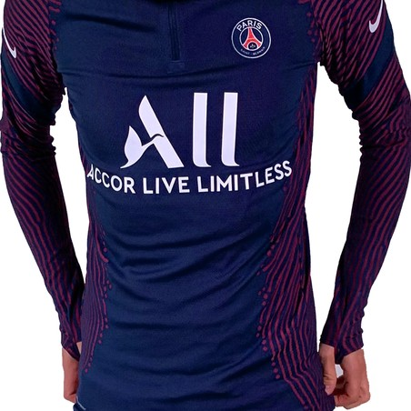 Sweat zippé PSG VaporKnite Strike bleu rouge 2020/21