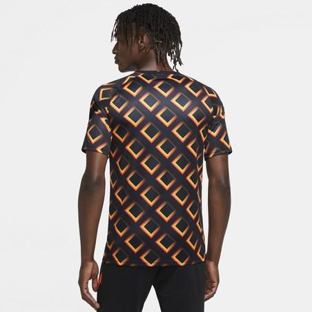 Maillot avant match AS Roma noir orange 2020/21