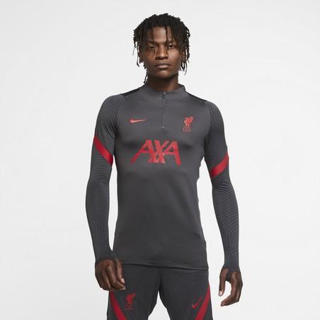 Sweat zippé Liverpool gris rouge 2020/21