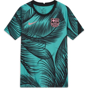Maillot avant match junior FC Barcelone vert noir 2020/21