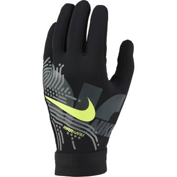 Gants joueur Nike Hyperwarm noir jaune