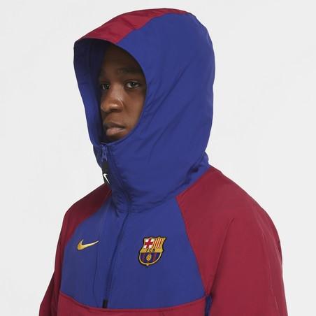 Sweat à capuche FC Barcelone microfibre rouge bleu 2020/21