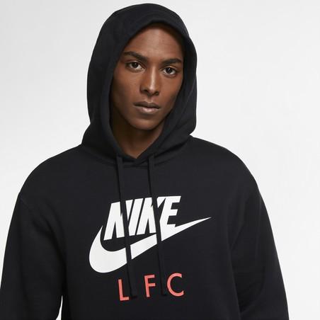 Sweat à capuche Liverpool noir rouge 2020/21