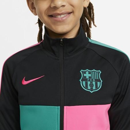 Veste survêtement junior FC Barcelone Anthem noir rose 2020/21