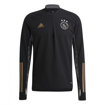 Sweat zippé Ajax Amsterdam noir or 2020/21