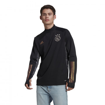Sweat zippé col montant Ajax noir or 2020/21
