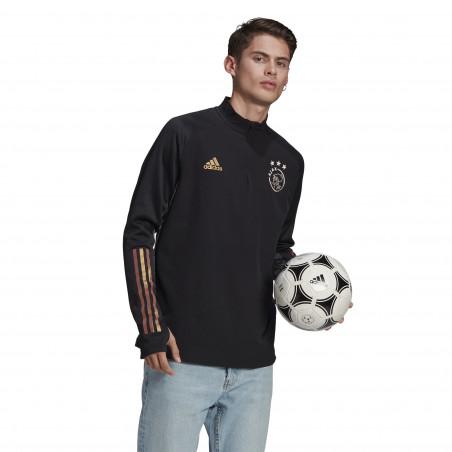 Sweat zippé col montant Ajax noir or 2020/21