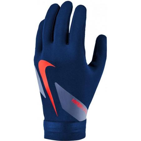 Gants joueurs Nike Hyperwarm bleu rouge