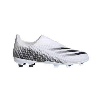 adidas X junior GHOSTED.3 LaceLess FG blanc noir