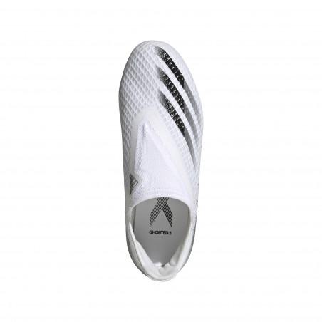 adidas X junior GHOSTED.3 LaceLess FG blanc noir