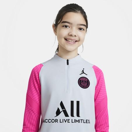 Sweat zippé junior PSG Jordan gris rose 2020/21