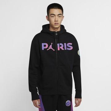 Veste à capuche PSG Jordan Fleece noir violet 2020/21