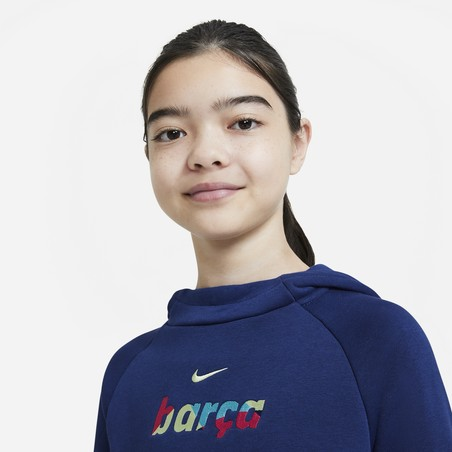 Sweat à capuche junior FC Barcelone bleu 2020/21